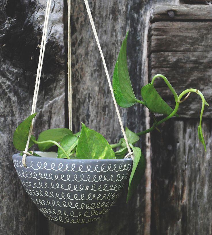 """Curlicue"" Design Ceramic Hanging Planter | Home Garden & Patio | Half Light Honey Studio | Scoutmob Shoppe | Product Detail"
