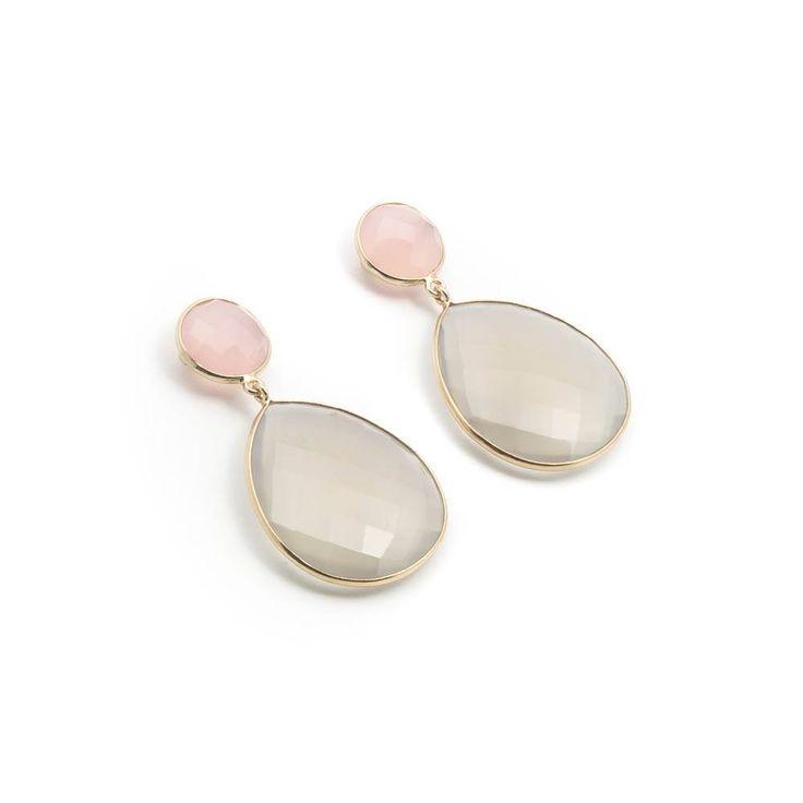 De Vogue Oorbellen met stekers van roze en taupe chalcedoon gezet in verguld zilver