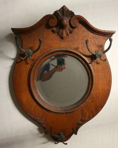 19thc Antique Victorian Carved Oak Round Mirror Hanging