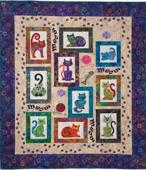 You'll be the cat's meow with this quilt pattern! Whether you are a cat lover or know someone that loves cats, this quilt pattern is a must-have! There are