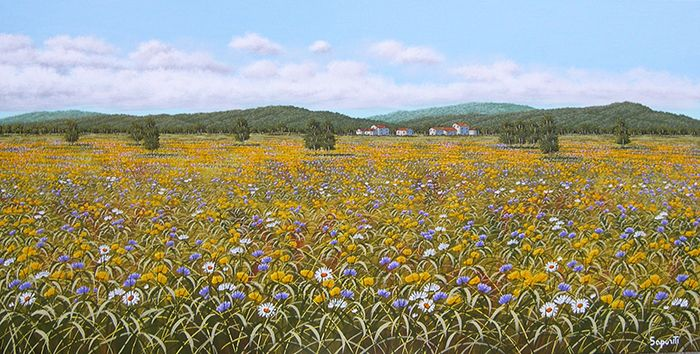olio su tela - dipinto - tecnica pennello e spatola - Paesaggio in fiore 60 x 120 - Autore Marco Saporiti
