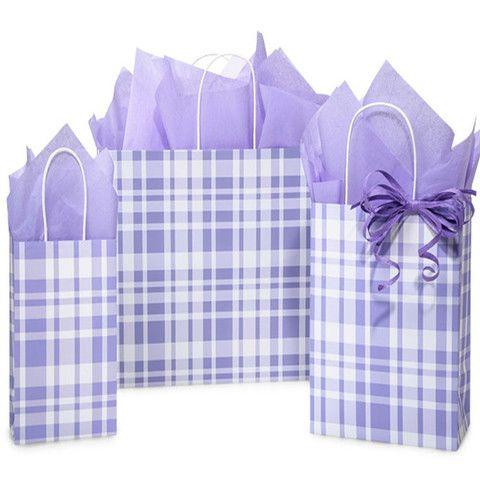 Paper Shopping Bags Lavender & Sage Plaid - 100% Recyclable – B2BWraps.com