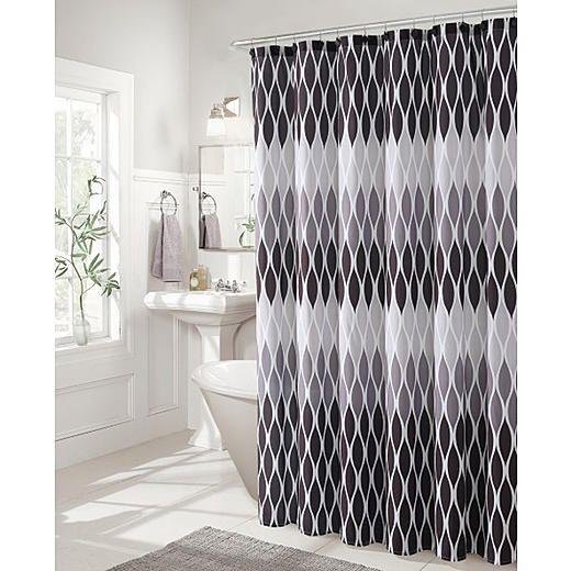 Jansen 13pc Black And White Shower Curtain Set White Shower