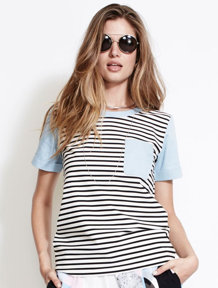 ISLA KEEP IT SIMPLE TEE from The Source Collection. Effortlessly cool, this Breton stripe tee is designed with chambray shirt style sleeves and front pocket, with the chambray detailing continuing in the trim around the yolk. Cut for a relaxed fit from slight stretch fabric, just slips straight on. Available www.talulah.com.au