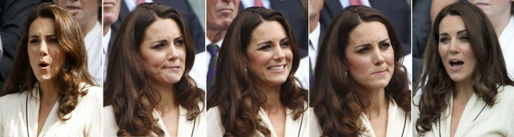 Kate showing the strain as she watches Andy Murray play at Wimbledon.  How cute is she!?!  I love her hehehee!