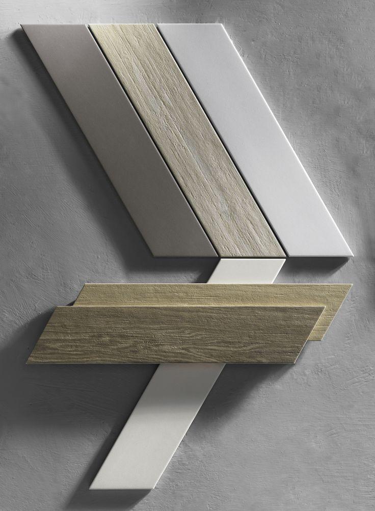 Dart di Tonalite, chevron 10x46 wood, marble e tinta unita. Abbinabile anche ala collezione Trapez. Cersaie 2016