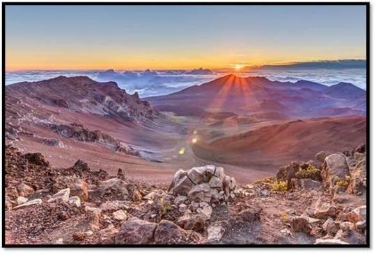 "Haleakala National Park is home to Maui's highest peak. Rising 10,023 (3,005 m) feet above sea level, Haleakala means ""house of the sun"" and is where demigod Maui lassoed the sun, slowing its passage so people had more time to dry kapa (cloth) and grow food."