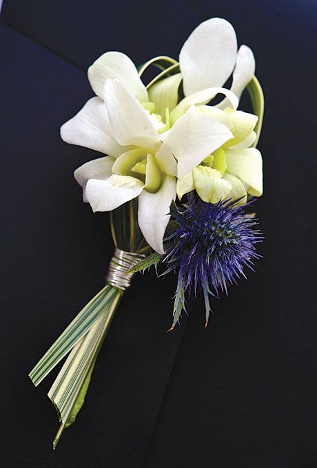 Orchid-and-thistle boutonniere. Photo: Jennifer Hughes.