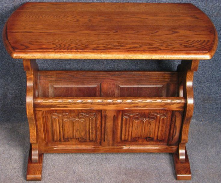 Period Style Solid Oak Linen Fold Coffee / Occasional Table / Magazine Rack