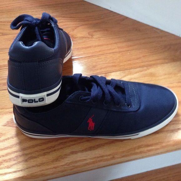 Men's Polo shoes Mens size 10.5 Ralph Lauren Polo shoes. Navy blue nylon upper with red Polo logo. Only worn a few times. No original box. Polo by Ralph Lauren Shoes Flats & Loafers