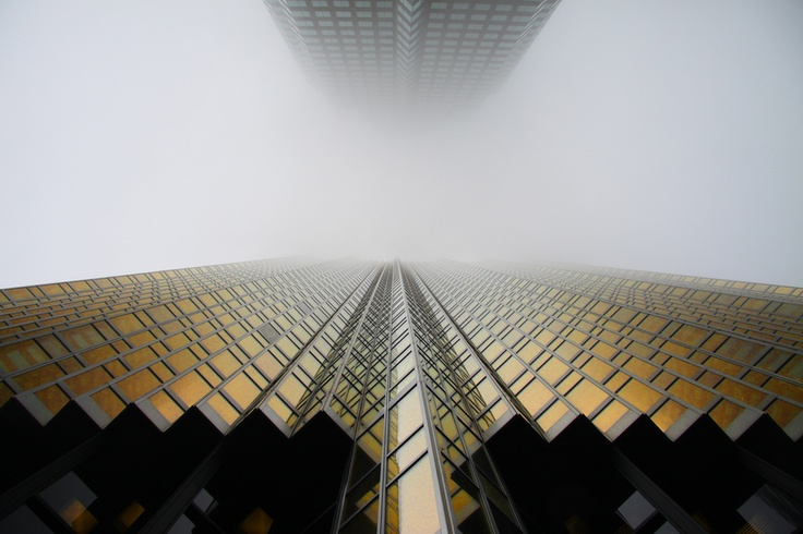 Looking straight up at the Royal Bank Plaza South Tower, corner of Bay and Front Streets.   Toronto, Ontario, Canada