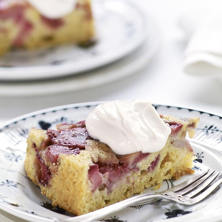 This strawberry and rhubarb upside-down cake recipe highlights how delicious strawberries and rhubarb taste together. If you can't find rhubarb, substitute an equal amount of any kind of berry or even fresh figs. This upside-down cake still tastes great the next day when the juiciness of the fruit has had time to marry with the moist olive oil cake.