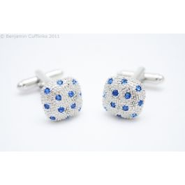 Blue Crystal Pillow Cufflinks - An intricate design has been set with 12 crystals.
