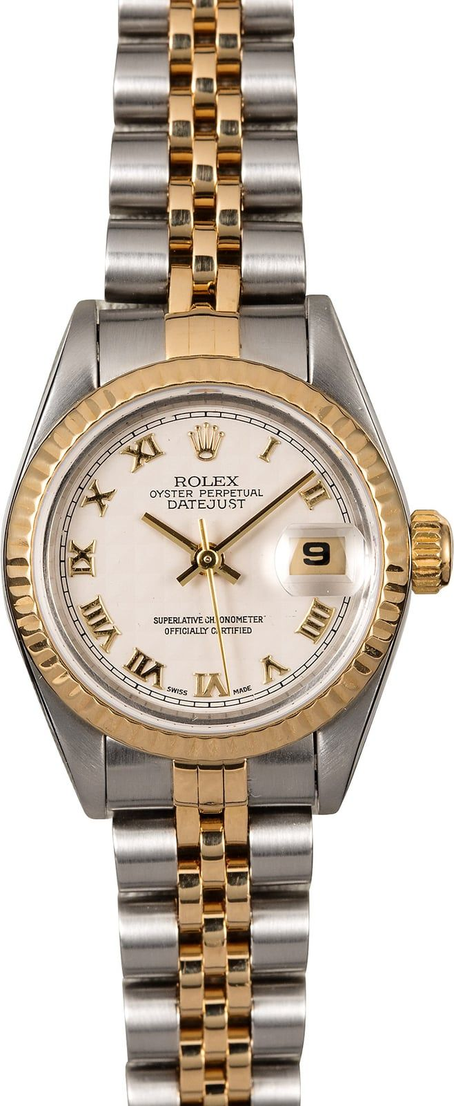 Manufacturer: Rolex   Model: Datejust 69173   Serial/Year: W - 1995   Grade: (What's This?) II/III slight bracelet stretch   Gender: Ladies   Movement/Features: Automatic 2135 movement w/ date, Quickset, scratch-resistant sapphire crystal, waterproof screw-down crown   Case: Stainless steel w/ yellow gold fluted bezel (26mm)   Dial: Ivory pyramid w/ Roman numeral hour markers   Bracelet: Stainless steel and yellow gold Jubilee w/ Fliplock clasp   Box &am...