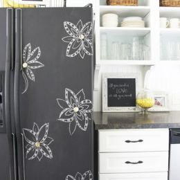 Chalkboard painted fridge!.....I am ready to do this now. @Kerry Daniel....you want to help? lol