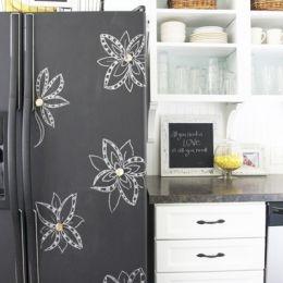 Chalkboard paint on the fridge is a great idea.....