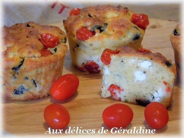 Aux délices de Géraldine: Muffins aux tomates cerises, feta et olives