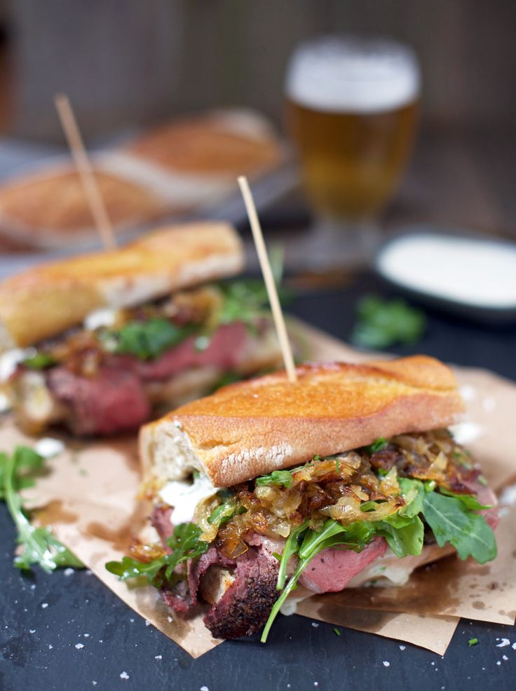 Prime Rib Steak Sandwiches - What do you do with leftover prime rib? Make an out-of-this-world prime rib steak sandwich, filled with tender meat, melted cheese, and sweet caramelized onions, that's what! : Vindulge