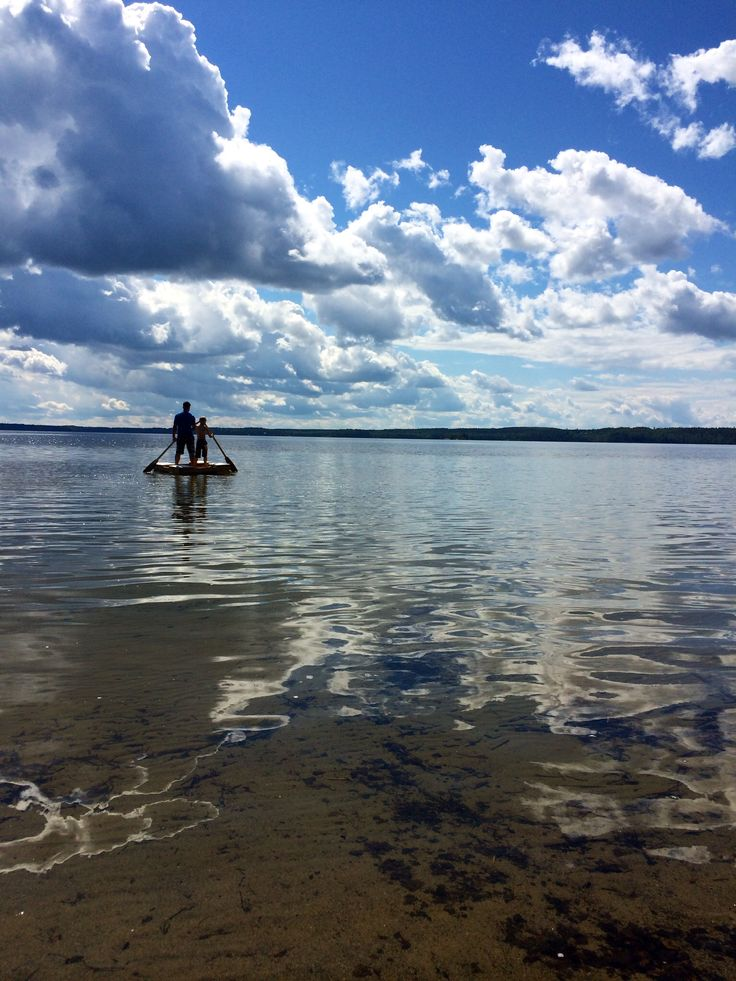 My husband and his younger son at lake Pyhäjärvi