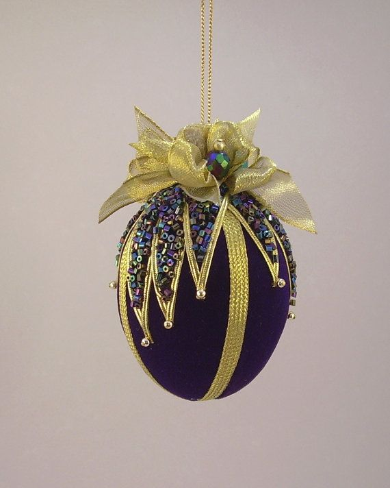 Victorian Inspired Velvet Beaded Egg Christmas by ArtWorksforMusic,