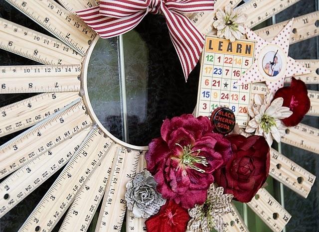 Back to School Ruler Wreath! (tutorial!) #polkadotchair #wreath