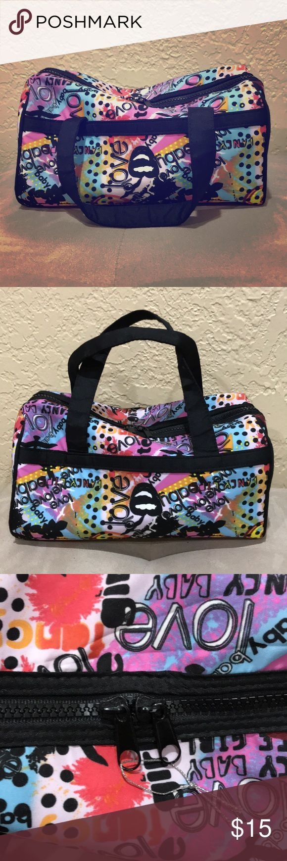 Large Travel Cosmetics Bag  This beautiful and vibrant large cosmetics bag has never been used. It is perfect for fitting all of your hair and makeup essentials for travel! 12 inches in length - this is not a duffel bag Bags Cosmetic Bags & Cases #travelessentials