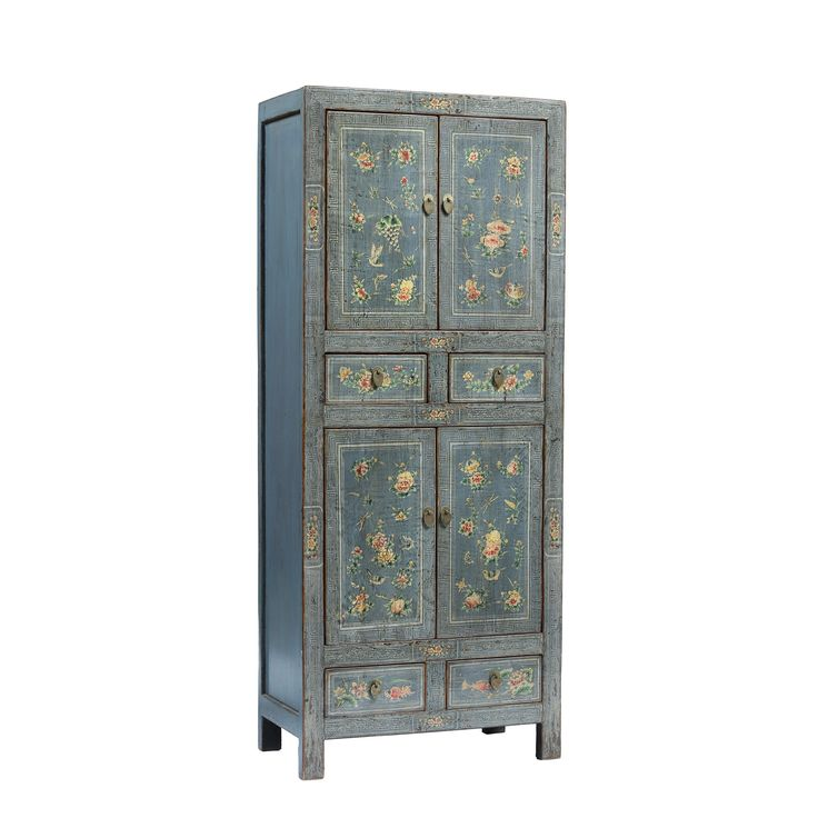 Tall Chinese Blue Grey Cabinet
