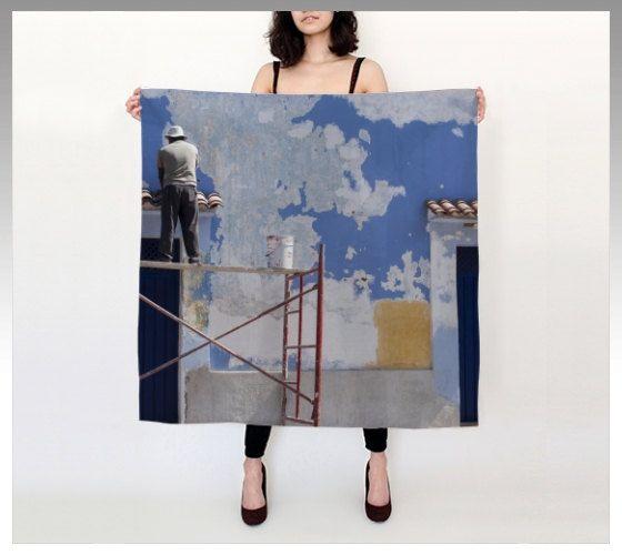 """Oaxaca Blue 36""""X 36"""" Square Silk Scarf by LOVEMIZU on Etsy"""