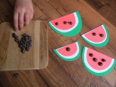 Watermelon counting. What other simple activities do you do with your child to teach counting skills?: Chocolates Trifles, Counted Activities, Preschool Lessons Plans, Chocolates Chips, Preschool Math, Watermelon Art, Watermelon Seeds, Watermelon Counted, Kid