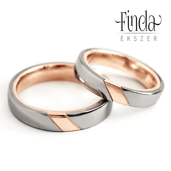 Duett arany karikagyűrű rozé és fehér