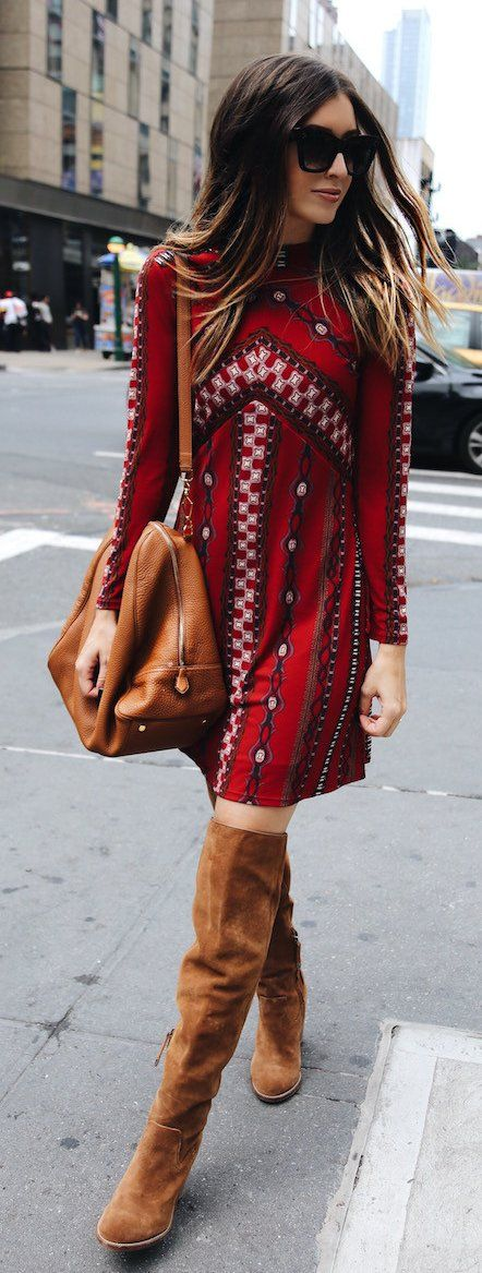 #spring #outfits Red Printed Dress + Brown OTK Boots