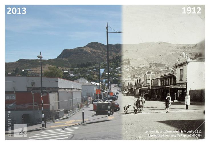 Lyttelton, New Zealand, London St. in 1912 and 2013