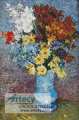 Flowers in a Blue Vase Counted Cross Stitch Pattern http://www.artecyshop.com/index.php?main_page=product_info&cPath=37_39&products_id=1307