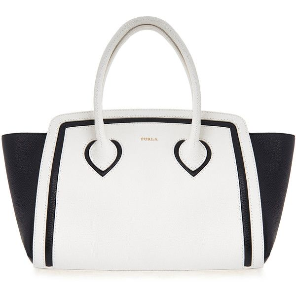 Furla College Black and Off-White Medium Tote Bag ($225) ❤ liked on Polyvore featuring bags, handbags, tote bags, black, leather handbag tote, furla tote bag, tote purses, handbags totes and zip top tote bag