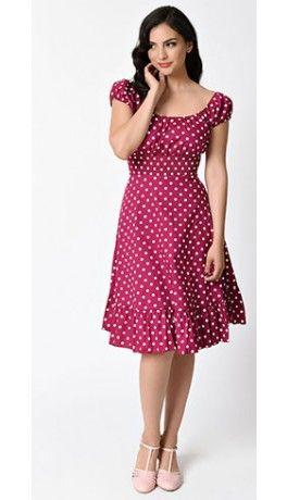 1940s Style Magenta Purple & White Dot Cap Sleeve Peasant Swing Dress