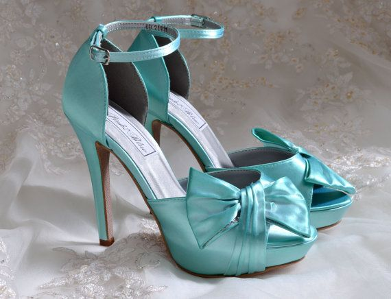 """Hmmmm alter the bow color to match bridesmaid dress??   Wedding Shoes - 4"""" Heel Bridal Shoes - Peep Toe Heels-120 Custom Colors on Etsy, $90.00"""