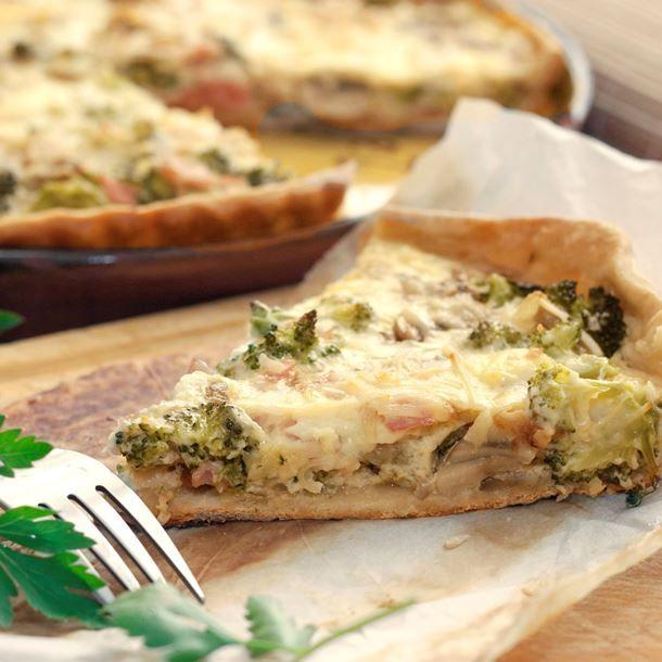 Tarte au camembert, brocolis et jambon