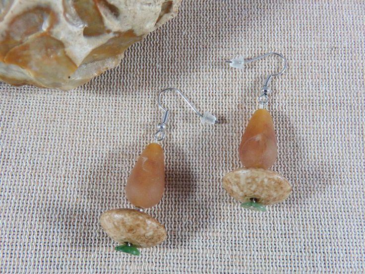 Boucles d'oreilles perle aspect bois et nature bijoux femme fille boucle d'oreilles perles de la boutique ArtKen6L sur Etsy