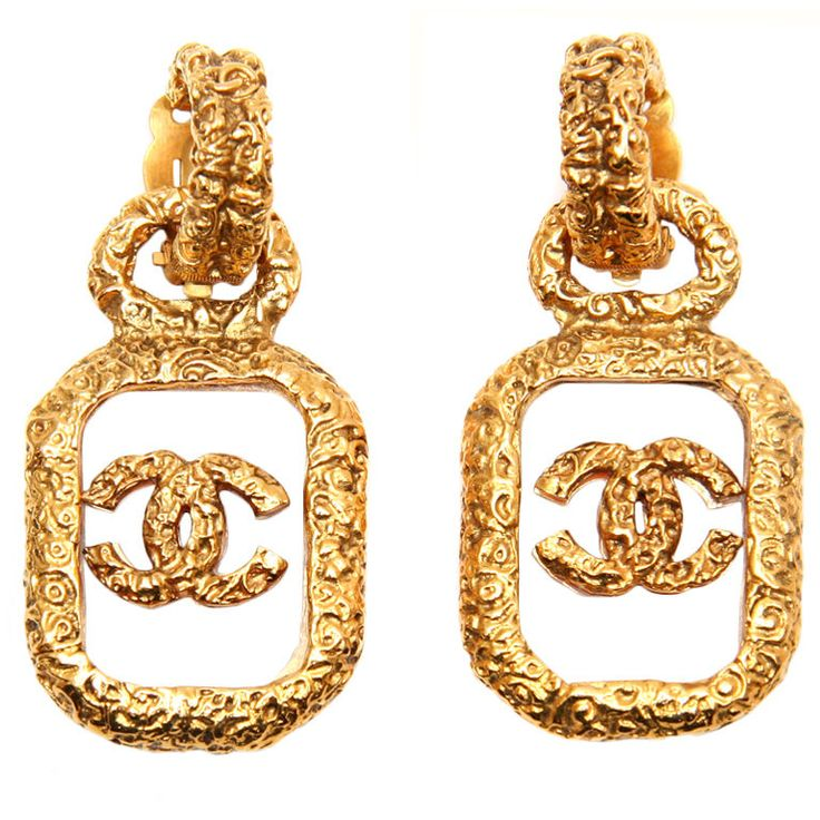chanel logo vintage earrings