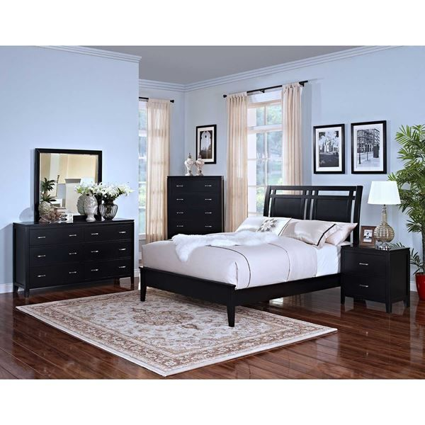 Accent your room with the contemporary lines & contours of the Selena 5 Piece Bedroom Set. Visit our site for this & other complete bedroom sets at low prices.