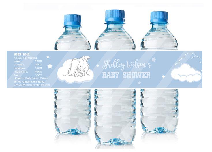 Baby Dumbo Baby Shower Water Bottle Labels