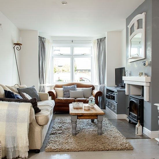 Grey living room with feature fireplace and cosy textures | Grey living room ideas | housetohome.co.uk