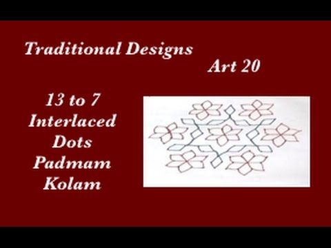 Dots Rangoli Art 20 - 13 to 7 Interlaced dots Muggu - Padmam Kolam designs