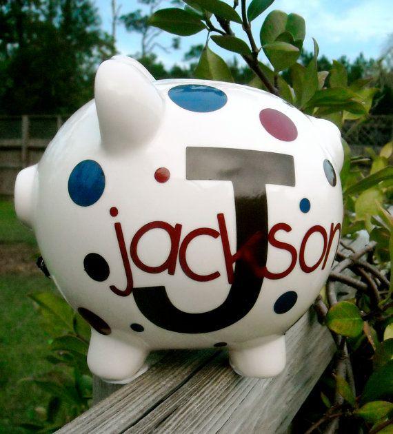 Personalized Medium Piggy Bank by dancenat on Etsy
