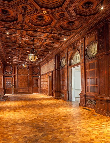 The Cooper-Hewitt Museum's Great Hall, now restored. Formerly the Gilded Age Mansion of Andrew Carnegie, NYC. ~~ (Image via: architectural digest) ~~ {cwl}