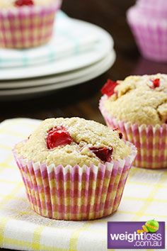 Red Plum Wholemeal Muffins. #HealthyRecipes #DietRecipes #WeightLossRecipes weightloss.com.au