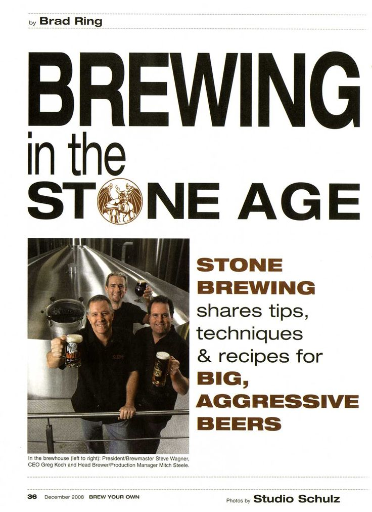 Brewing in the Stone Age article from Stone Brewery...includes IPA clone recipe
