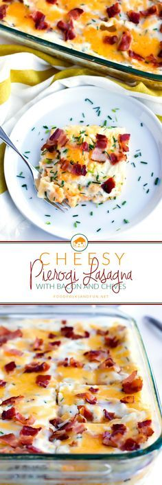 If you love hot, cheesy potato pierogies then you'll love this Cheesy Pierogi Lasagna with bacon and chives! It's everything you love in a pierogi but in the perfect potluck-friendly casserole.