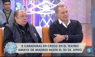 "Bertín Osborne y Arévalo presentan su obra ""2 caraduras en crisis"" http://www.telecinco.es/quetiempotanfeliz/Bertin-Osborne-Arevalo-QTTF_2_1606530080.html"