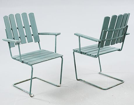 """grythyttan"" garden chairs, painted in a dirty turqouise color."